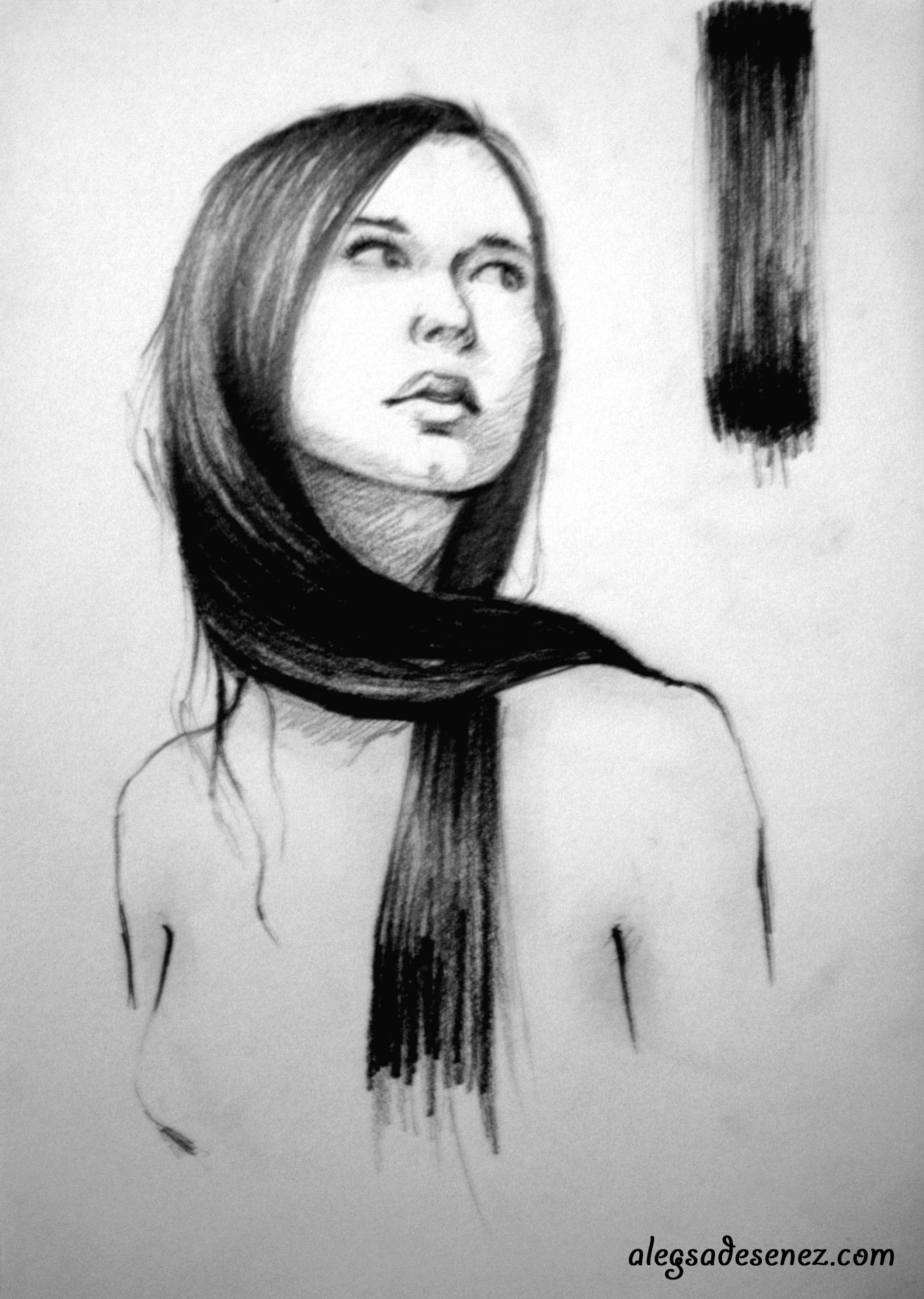Cum desenez parul lung si drept