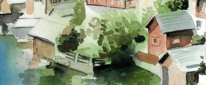 Case pe malul apei – pictura in acuarele
