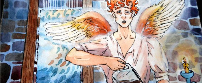 Poveste in trei cuvinte si o ilustratie: covor, inger, cafea. (Nr. 1)